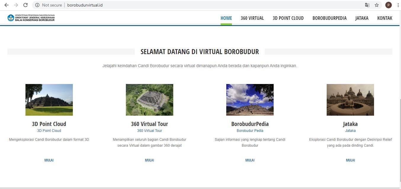 Tangkapan layar laman muka situs Borobudurvirtual.id
