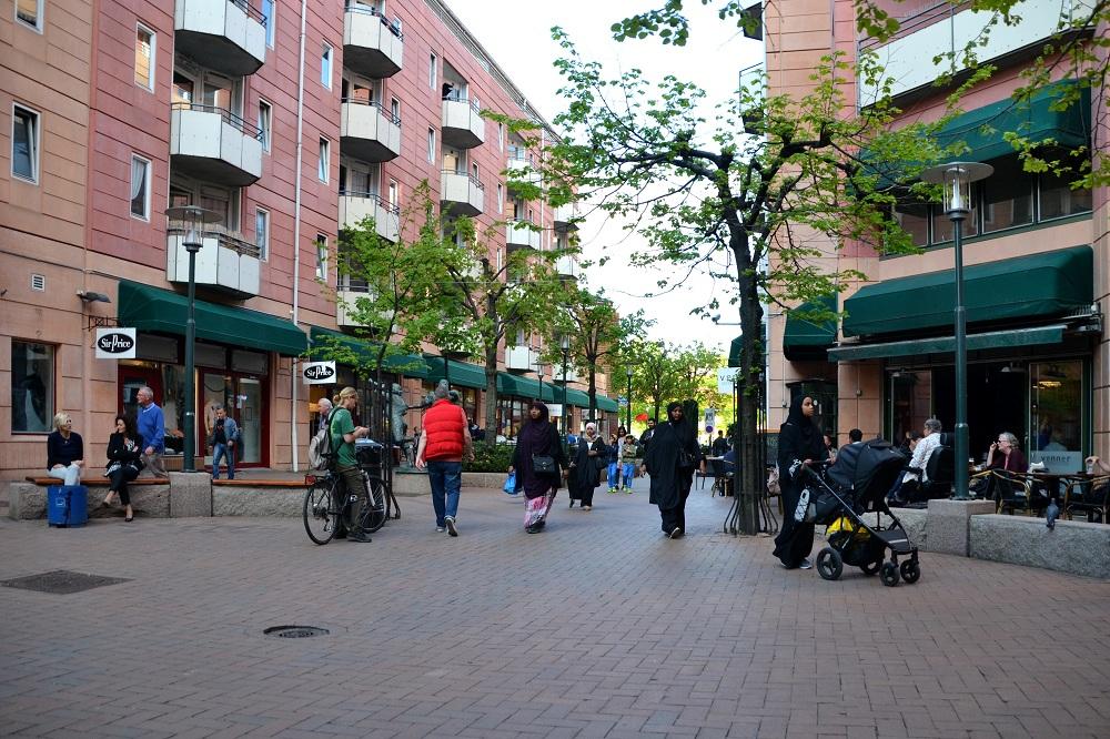 Suasana kawasan pejalan kaki di Oslo, Norwegia.