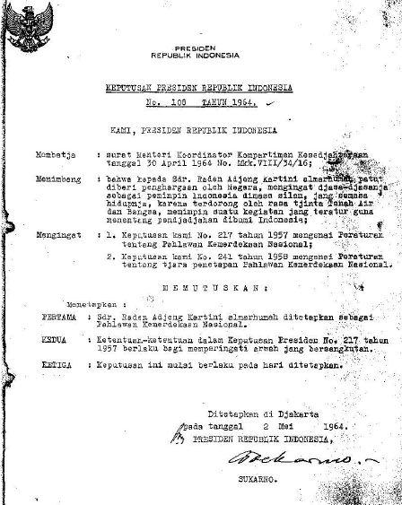 Surat Keputusan Presiden RI no. 106 Tahun 1964.