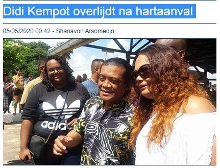 Bertita wafatnya Didi Kempot di media Suriname.