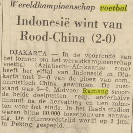 Sebuah artikel yang mengabarkan kemenangan timnas sepak bola Indonesia atas Cina dengan skor 2-0.