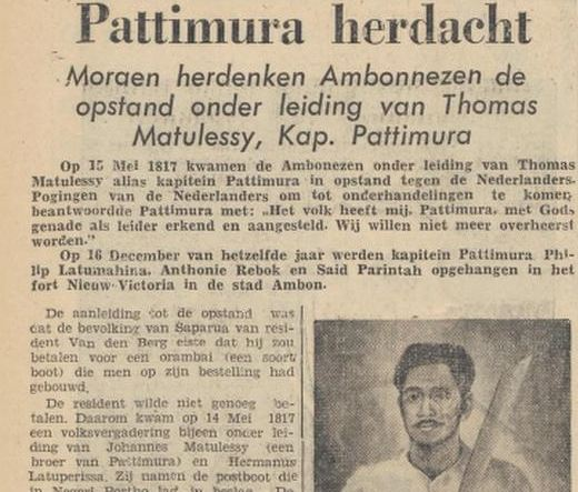Kisah perjuangan rakyat Maluku yang dipimpin Kapitan Pattimura diceritakan kembali di surat kabar De Nieuwsgier pada 1955.