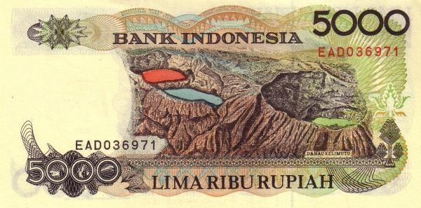 Uang pecahan Rp 5.000 dengan gambar Danau Tiga Warna Gunung Kelimutu.