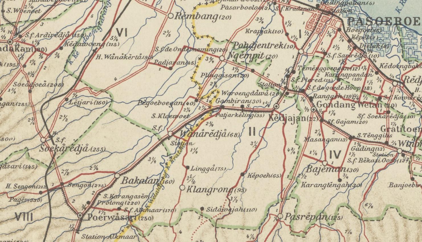 Peta jejaring jalur trem uap Pasuruan.
