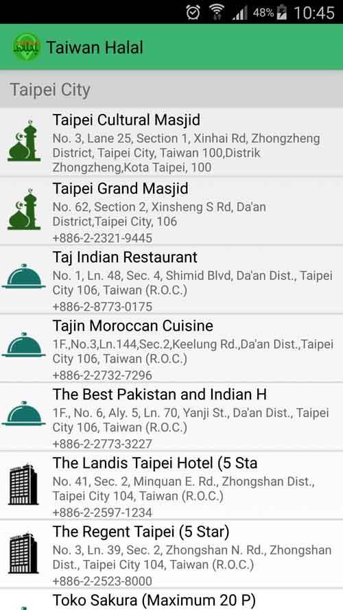 Tampilan Aplikasi Taiwan Halal (Gambar: Google Playstore)