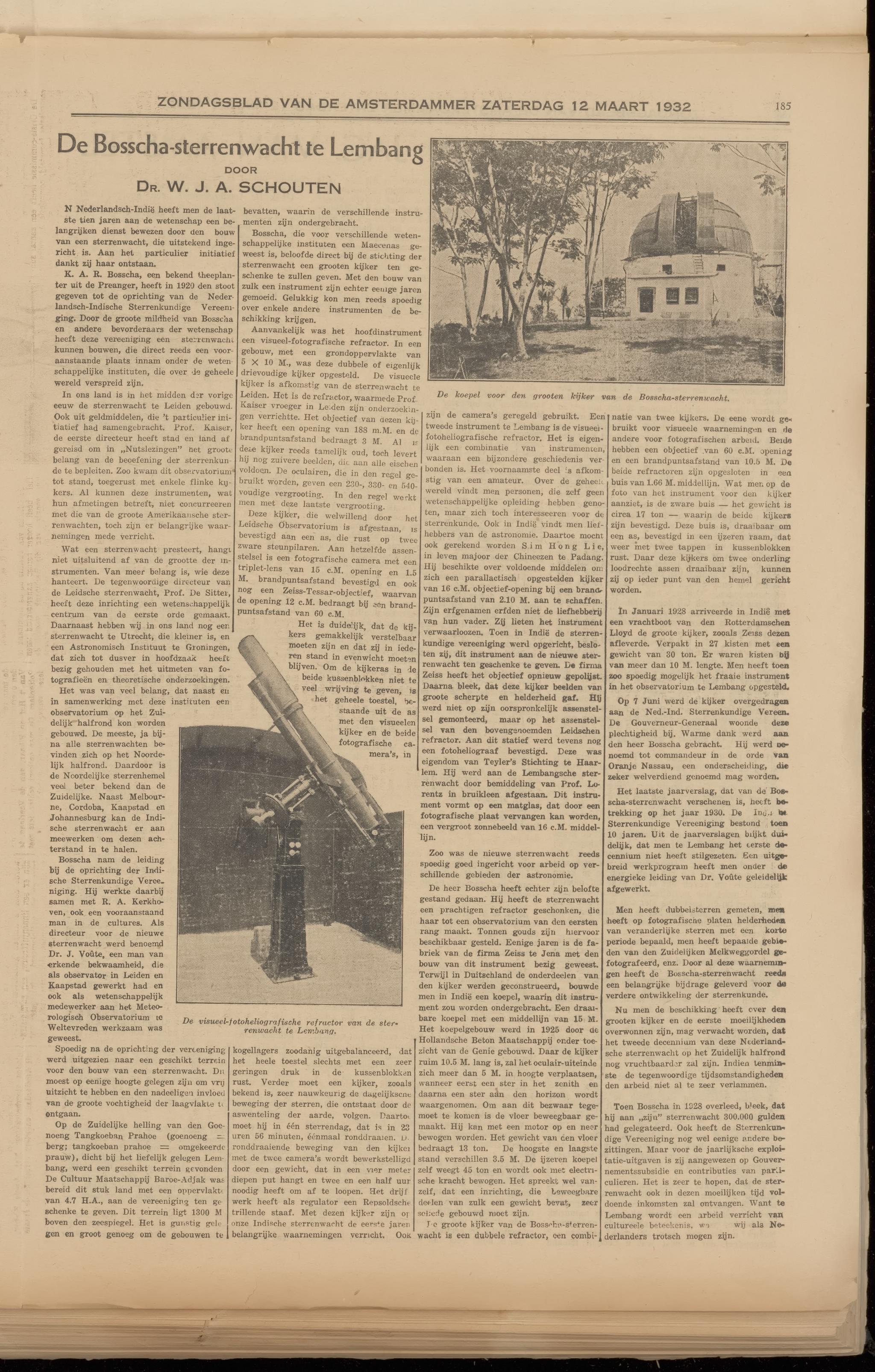 Artikel mengenai sejarah Observatorium Bosscha di surat kabar De Amsterdammer yang terbit pada 11 Maret 1932.