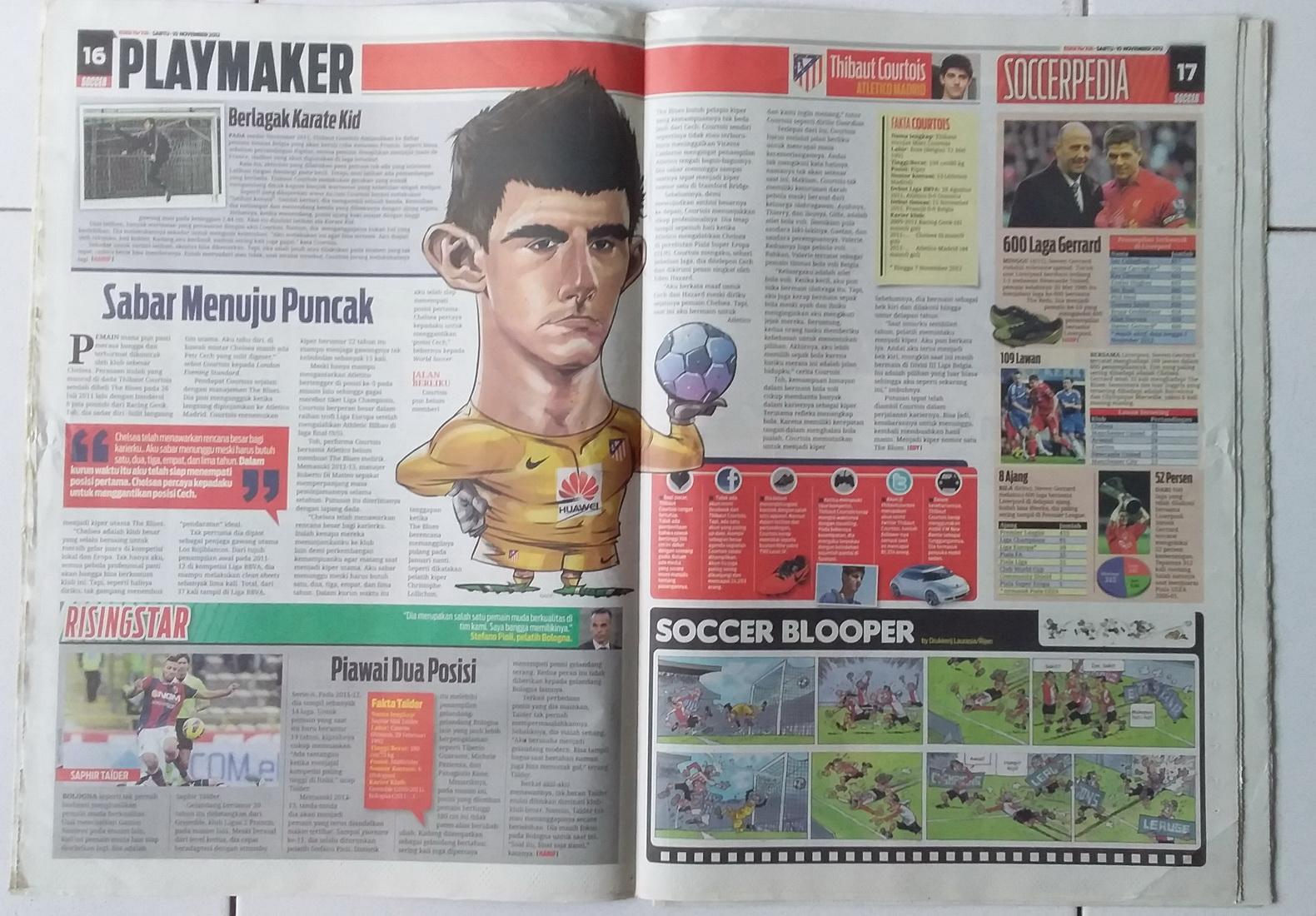 Tampilan rubrik dalam tabloid Soccer.
