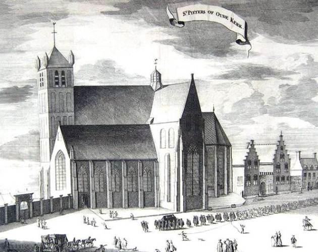 Ilustrasi Prosesi Pemakaman Tengku Abdul Hamid, Gereja tua tua St. Pieters Middelburg Agustus 1602