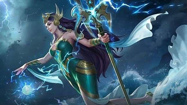 Karakter Kadita dalam gim Mobile Legends yang didesain menyerupai Nyi Roro Kidul.