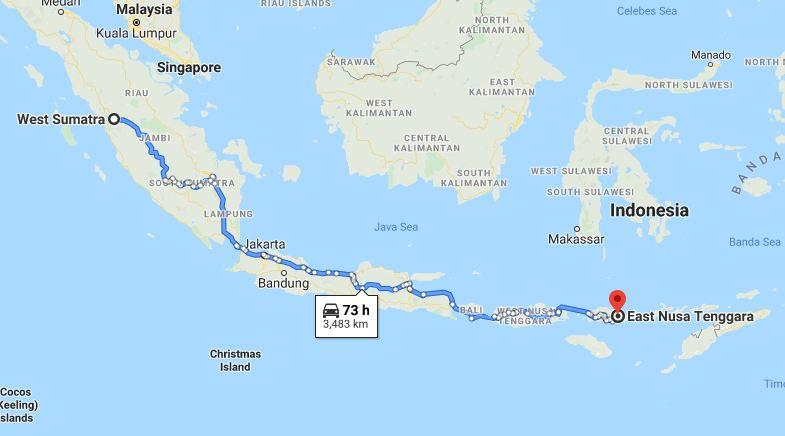 Jarak ribuan kilometer harus ditempuh jika ingin bertolak dari Sumatra Barat ke Nusa Tenggara Timur (Pulau Flores).