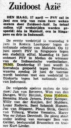 Artikel koran Belanda mengabarkan laga PSV Eindhoven versus PSMS Medan pada 14 Juni 1971.