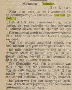 Artikel mengenai ditutupnya layanan KA di Sulawesi pada 1930.