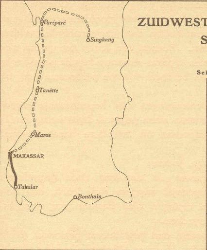 Peta jalur KA di Sulawesi Selatan pada 1925.