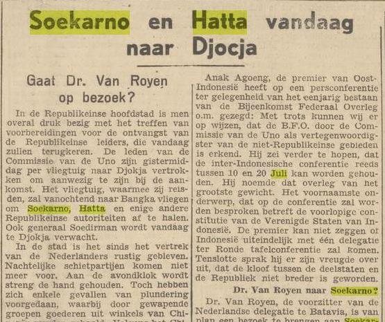 Artikel berita Sukarno dan Hatta pulang dari pengasingan.