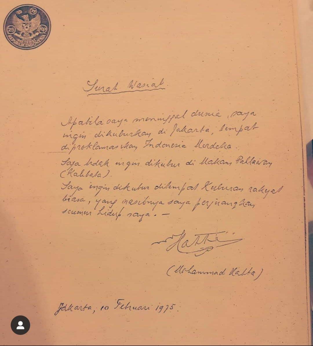 Surat wasiat Hatta yang diposting oleh cucunya, Gustika, lewat media sosial.