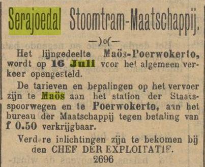 Iklan pembukaan jalur Maos - Purwokerto oleh Serajoedal Stoomtram Maatschappij.