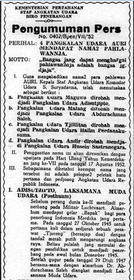 Pengumuman mengenai nama tokoh angkatan udara yang dijadikan nama sejumlah bandar udara di Indonesia, salah satunya Agustinus Adisucipto.