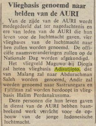 Pangkalan Udara Maguwo dinamai pahlawan AURI, Agustinus Adisucipto.