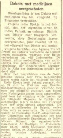 Surat kabara harian tertua Belanda, Leeuwarder Courant, memberitakan jatuhnya pesawat Dakota VT-CLA.