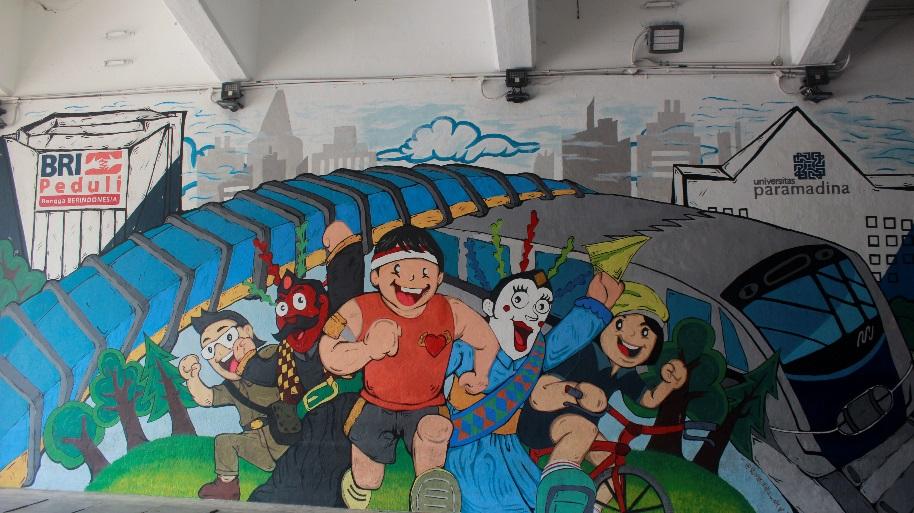 Salah satu lukisan dinding atau mural dalam rangka menyambut HUT Jakarta ke-492 dengan tema