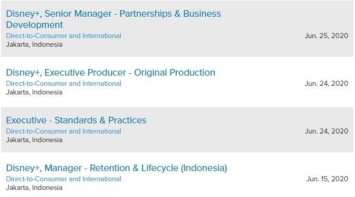Disney+ buka peluang kerja lewat laman resmi mereka.