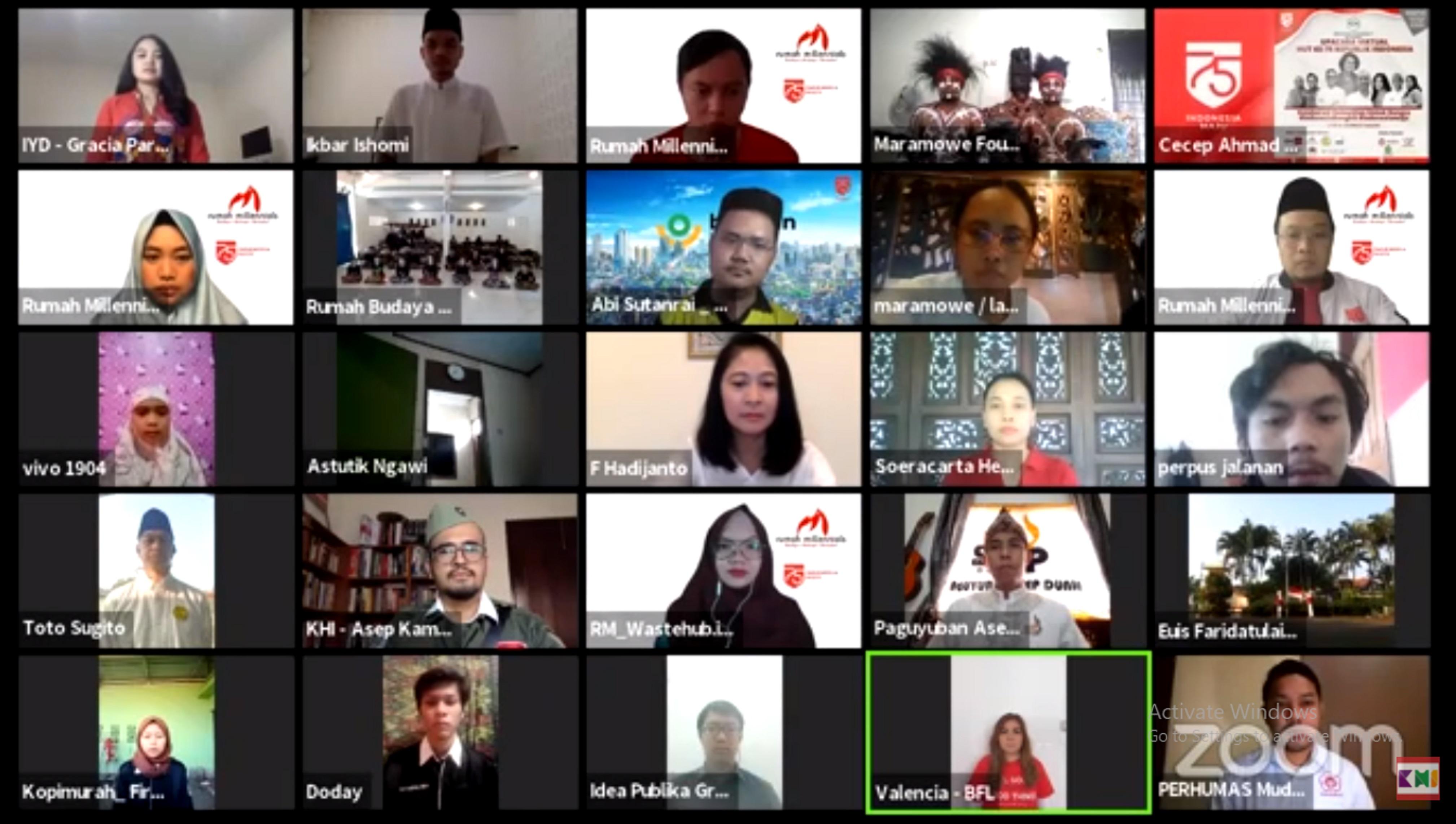 Potret upacara virtual   Foto: Youtube Komunitas Historia Indonesia