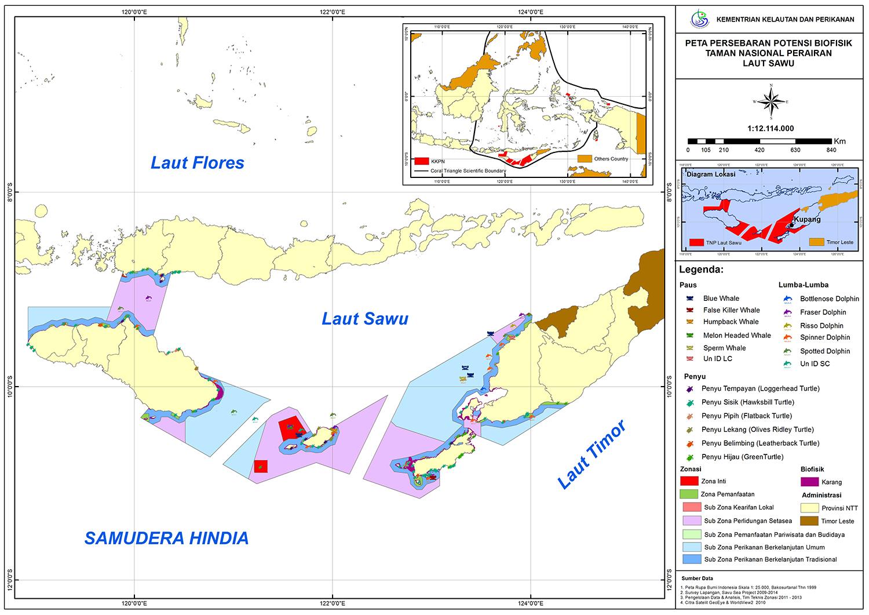 peta sebaran fauna laut sawu