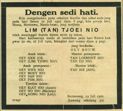 Iklan Berita Duka Jadul © Ejaan van Ophuysen (1901—1947) dalam Iklan Tempo Doeloe dan Kebermaknaannya dalam Pengembangan Bahasa Indonesia