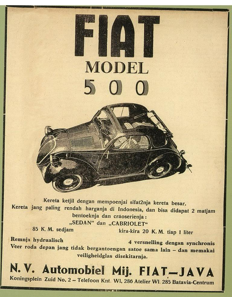 Iklan Mobil Fiat Jadul © Ejaan van Ophuysen (1901—1947) dalam Iklan Tempo Doeloe dan Kebermaknaannya dalam Pengembangan Bahasa Indonesia