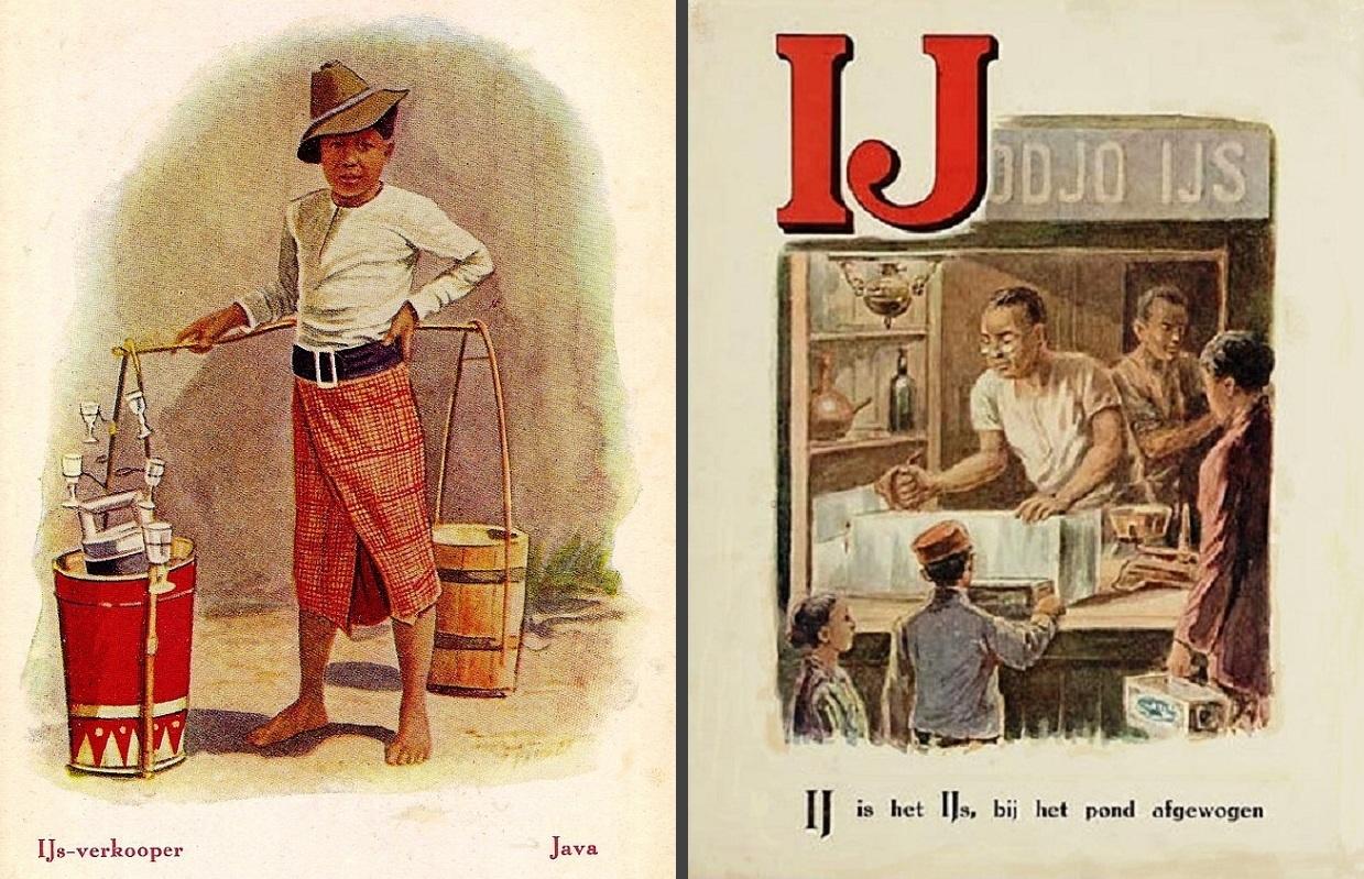 Pedagang es keliling di Batavia / Jawa 1910an dalam salah satu postcard keluaran G. C. T. van Dorp & Co dan kartu pelajaran abjad bahasa Belanda, menggambarkan toko penjual es dengan latar nama Petodjo Ijs. Tampak es batu masih digergaji dan ditimbang, pembeli memiliki semacam kotak untuk membawanya.