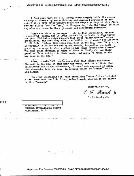 Pict. Dokumen CIA tentang Ourang Medan 1
