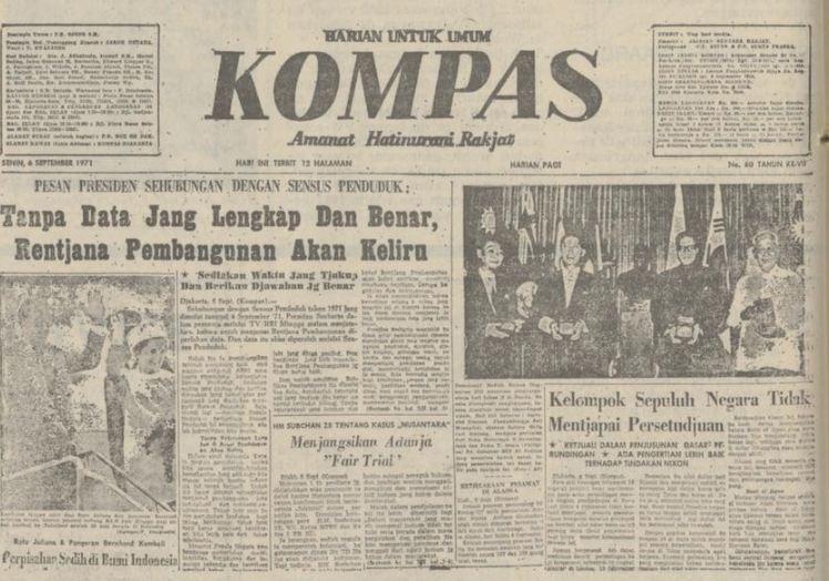 Harian Kompas terbitan 6 September 1971.