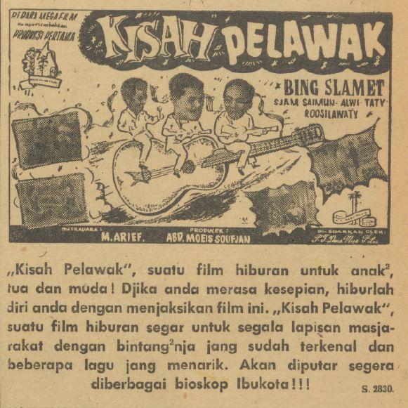 Film Kisah Pelawak (1961) yang dibintangi Bing Slamet.
