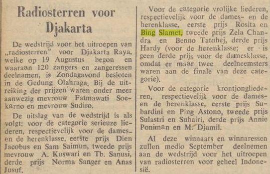 Bing Slamet meraih juara dalam kontes