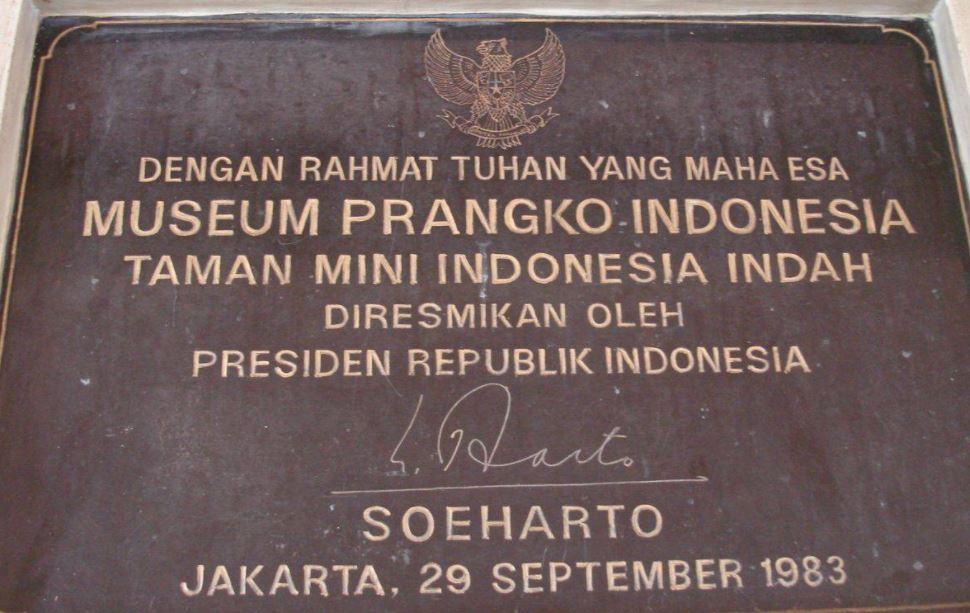 Prasasti peresmian Museum Prangko yang ditandatangani Presiden RI kedua, Suharto.