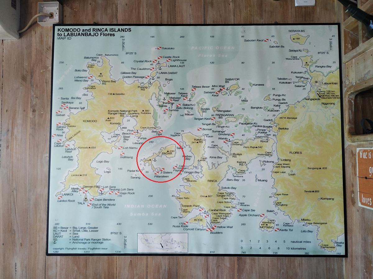 Peta wisata di Labuan Bajo, Pulau Flores.