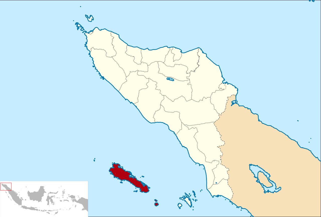 Pulau Simeulue (indikator merah) terletak berseberangan dengan Pulau Sumatra.