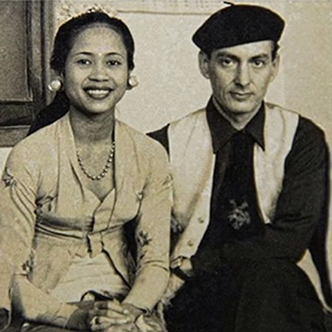 Ni Ronji dan Antonio Blanco ketika berkunjung ke Amerika Serikat pada 1957.