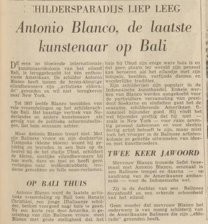 Kisah singkat mengenai kehidupan Antonio Blanco yang menemukan 'El Dorado'-nya di Bali. Dalam artikel tersebut disebutkan Presiden RI pertama Sukarno menjadi salah satu penikmat lukisannya.