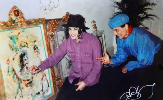 Penyanyi pop dunia, Michael Jackson, saat bertemu dengan Antonio Blanco.