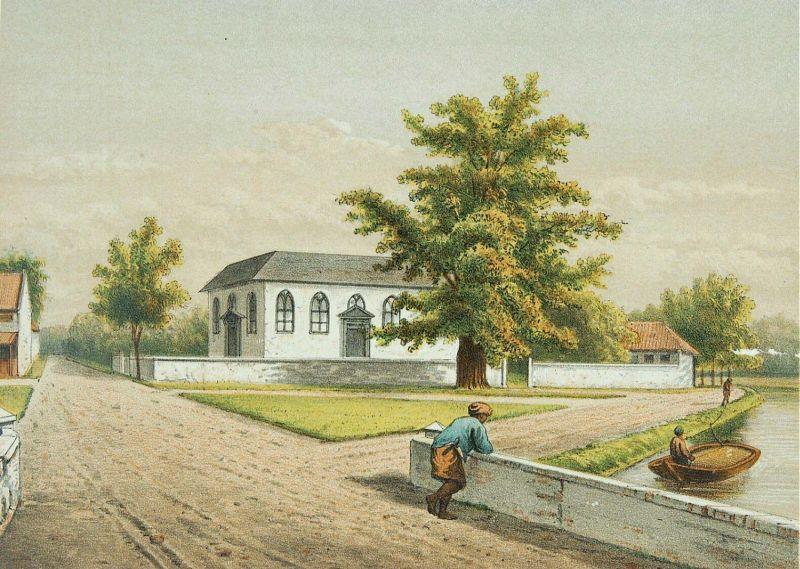 Gereja Sion dalam litografi karya Josias Cornelis Rappard.