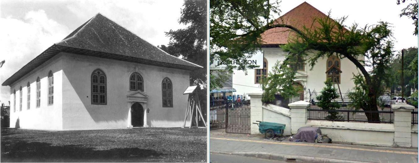 Gereja Sion dulu dan kini.
