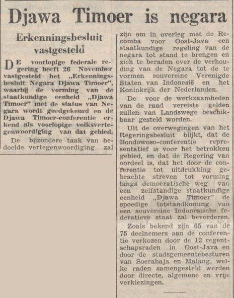 Sebuah artikel mengabarkan mengenai Negara Jawa Timur yang terbentuk pada 26 November 1948.
