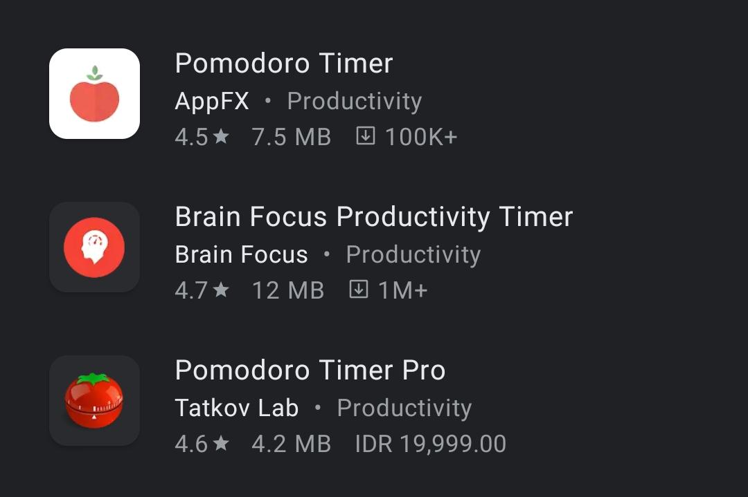 Aplikasi Pomodoro Timer di Smartphone   Foto: Play Store
