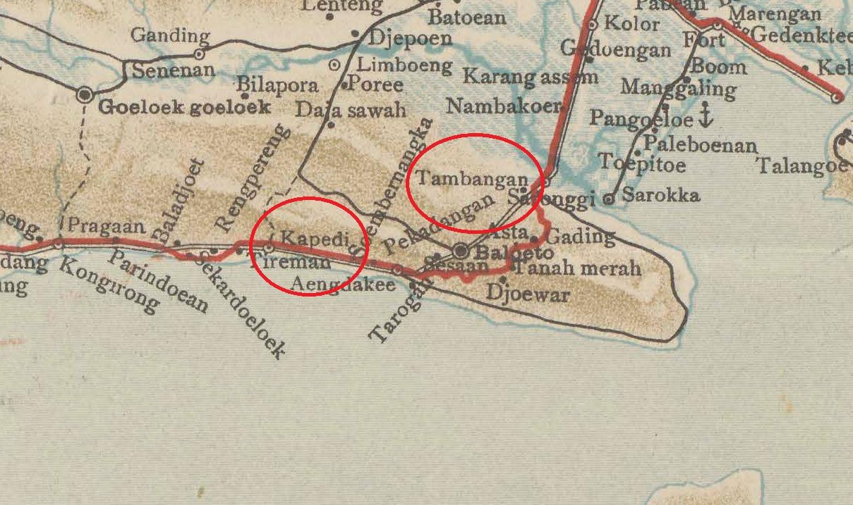 Peta jalur trem uap Madura.