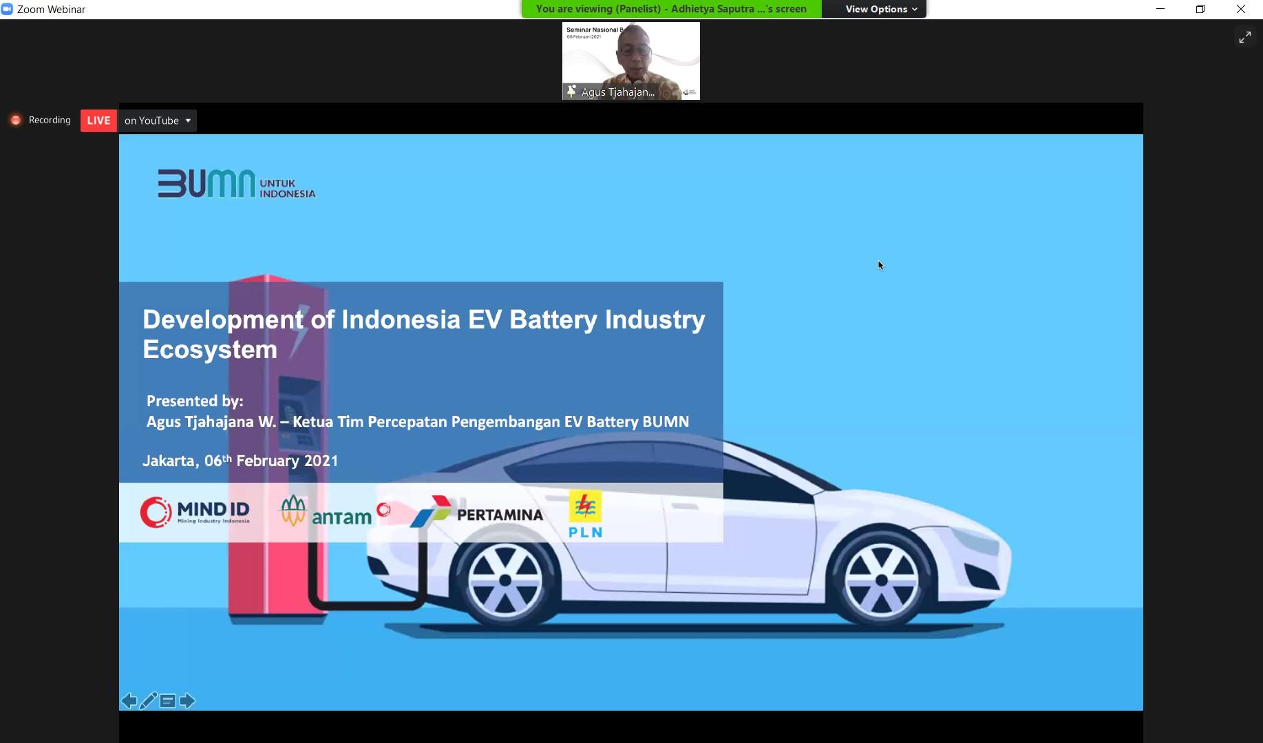 Pemaparan Ir. Agus Tjahajana tentang pengembangan ekosistem industri baterai untuk sistem kendaraan listrik di Indonesia