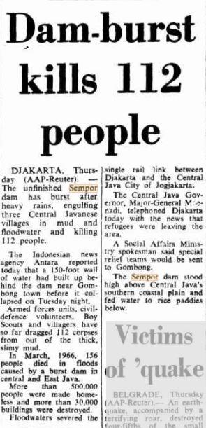 Artikel surat kabar Australia, The Canberra Times, mengabarkan bencana banjir bandang di Gombong.