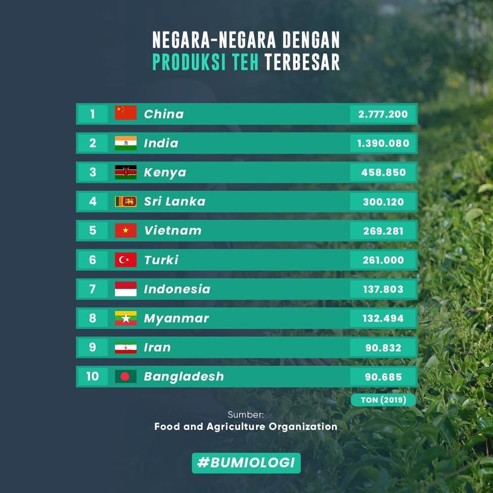 10 negara penghasil teh terbanyak © Instagram @bumiologi