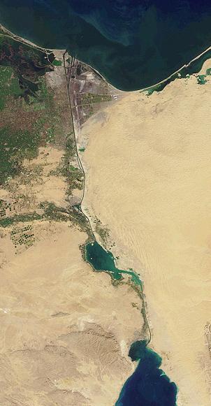 Penghubung dua laut, Suez Canal | PD-USGov-NASA