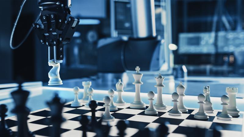 Ilustrasi catur melawan robot di masa depan. @ Shutterstock